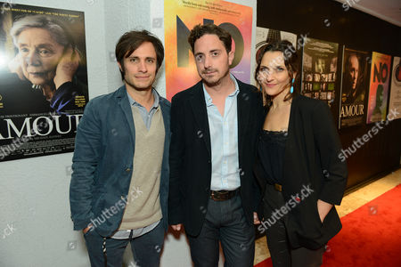 Gael Garcia Bernal, Director Pablo Larrain and actress Antonia Zegers attend the Sony Pictures Classics Pre-Oscar Dinner at The London Hotel on in West Hollywood, California