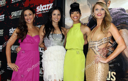 """Stock Image of From left, Jenna Lind, Katrina Law, Cynthia Addai-Robinson, and Ellen Hollman pose together at the premiere of """"Spartacus: War of the Damned"""" on in Los Angeles. """"Spartacus: War of the Damned"""" premieres Friday, Jan. 25 at 9PM on STARZ"""