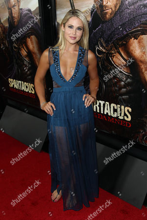 """Anna Hutchison arrives at the premiere of """"Spartacus: War of the Damned"""" on in Los Angeles. """"Spartacus: War of the Damned"""" premieres Friday, Jan. 25 at 9PM on STARZ"""