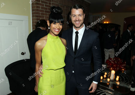"""Stock Photo of Cynthia Addai-Robinson, left, and Dan Feuerriegel pose together at the after party for the premiere of """"Spartacus: War of the Damned"""" on in Los Angeles. """"Spartacus: War of the Damned"""" premieres Friday, Jan. 25 at 9PM on STARZ"""