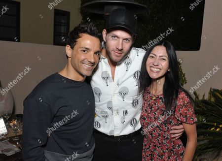 From left, George Kotsiopoulos, Johnny Wujek and Magda Berliner attend SpinMedia Supper Club hosted by Wujek, in Los Angeles