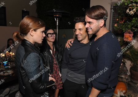 From left, Kate Mara, Magda Berliner, George Kotsiopoulos and Markus Molinari attend SpinMedia Supper Club hosted by Johnny Wujek, in Los Angeles
