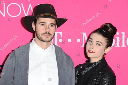 Jayson Blair, Allison Paige attends T-Mobile's Launch of Un-carrier X held at the Shrine Auditorium, in Los Angeles