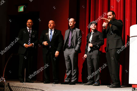 From left to right, Interactive Media Peer Group Governors Marc Johnson, and Seth R. Shapiro, Nice Peter, EpicLLOYD and Harley Morenstein on stage at the Television Academy's 66th Emmy Interactive Media Nominee Reception at the Television Academy on in the NoHo Arts District in Los Angeles
