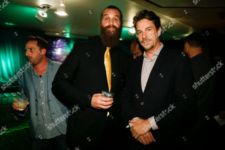 Harley Morenstein, left, and Chris Jacobs pose at the Television Academy's 66th Emmy Interactive Media Nominee Reception at the Television Academy on in the NoHo Arts District in Los Angeles