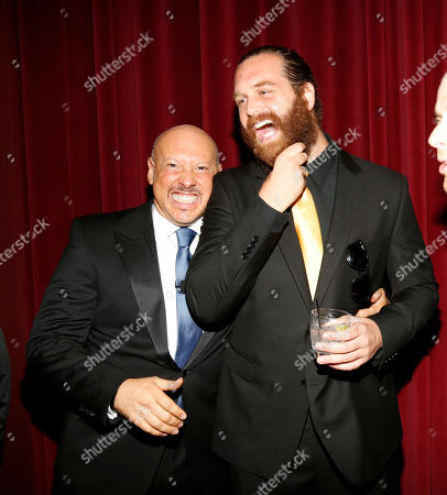 Interactive Media Peer Group Governor Seth R. Shapiro, left talks with Harley Morenstein, right, at the Television Academy's 66th Emmy Interactive Media Nominee Reception at the Television Academy on in the NoHo Arts District in Los Angeles