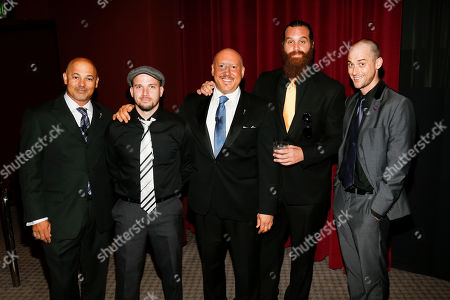Interactive Media Peer Group Governors Marc Johnson, left, and Seth R. Shapiro, third left, pose along with EpicLLOYD, second left, Harley Morenstein, second right, and Nice Peter, right, at the Television Academy's 66th Emmy Interactive Media Nominee Reception at the Television Academy on in the NoHo Arts District in Los Angeles