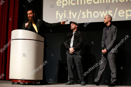 Harley Morenstein, EpicLLOYD and Nice Peter speak on stage at the Television Academy's 66th Emmy Interactive Media Nominee Reception at the Television Academy on in the NoHo Arts District in Los Angeles