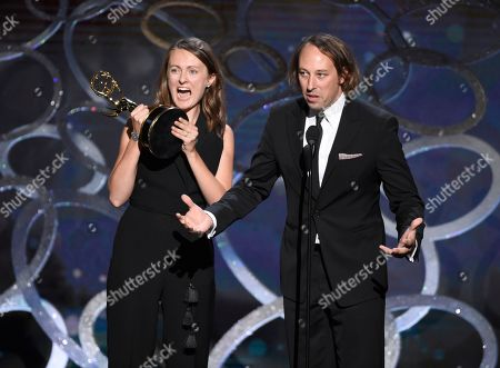 "Schuyler Telleen and Katherine Isom accept the award for outstanding production design for a variety, nonfiction, reality or reality-competition series for ""Portlandia"" during night two of the Television Academy's 2016 Creative Arts Emmy Awards at the Microsoft Theater on in Los Angeles"