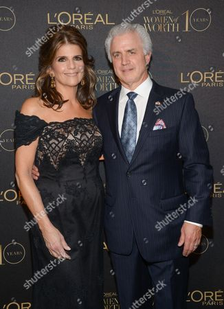 """L'Oreal Paris president Karen Fondu and husband attend the tenth annual L'Oreal Paris """"Women of Worth"""" awards gala at The Pierre Hotel, in New York"""