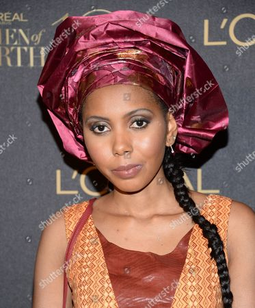 "Jaha Dukureh arrives at the tenth annual L'Oreal Paris ""Women of Worth"" awards gala at The Pierre Hotel, in New York"