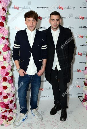 Phil Clifton, left, and Jay Camilleri arrive for a VIP screening of The Big Wedding at the Mayfair Hotel in London on