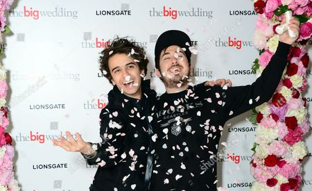 Stefan Abingdon, left, and Dru Wakely of the Midnight Beast, seen arriving for a VIP screening of The Big Wedding at the Mayfair Hotel in London on