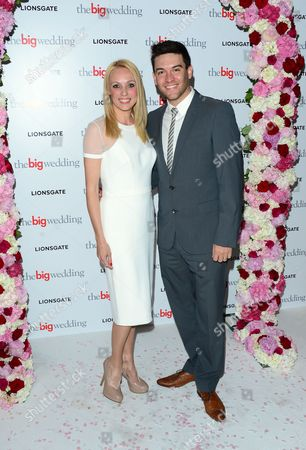 Camilla Dallerup and Kevin Sacre arrive for a VIP screening of The Big Wedding at the Mayfair Hotel in London on