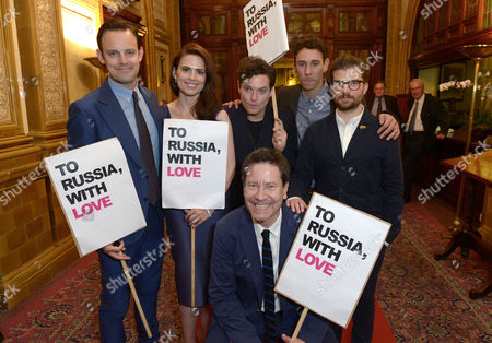 Harry Hadden-Paton, Hayley Atwell, Mathew Horne, Al Weaver, Alexi Kaye Campbell and Jamie Lloyd at The Pride Curtain Call Party held at Royal Horseguards Hotel,, in London