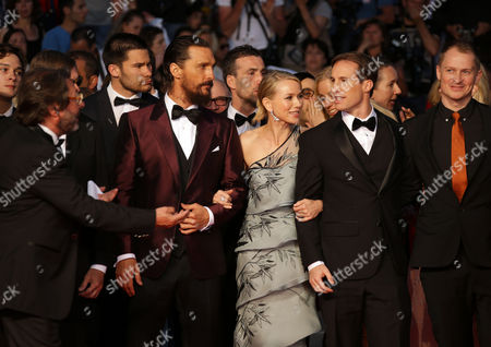 Stock Picture of From left, Gus Van Sant, Matthew McConnaughey, Naomi Watts, Chris Sparling and guests pose for photographers upon arrival for the screening of the film The Sea of Trees at the 68th international film festival, Cannes, southern France