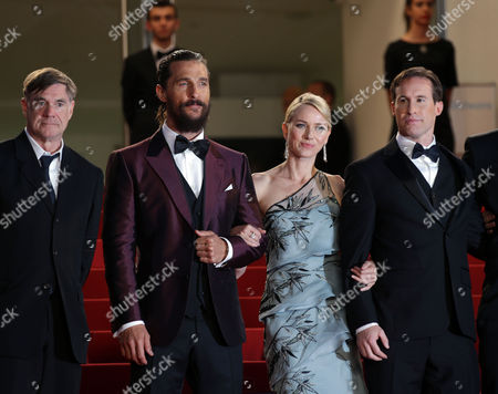 Stock Photo of From left, Gus Van Sant, Matthew McConnaughey, Naomi Watts, Chris Sparling and guests pose for photographers upon arrival for the screening of the film The Sea of Trees at the 68th international film festival, Cannes, southern France