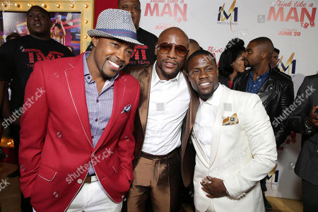 Producer William Packer, Floyd Mayweather Jr. and Kevin Hart seen at the The World Premiere of Screen Gems' 'Think Like a Man Too' on in Los Angeles