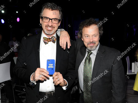 "King of the Nerds"" co-hosts Robert Carradine, left, and Curtis Armstrong attend the TNT and TBS 2013 Upfront at the Hammerstein Ballroom on in New York"