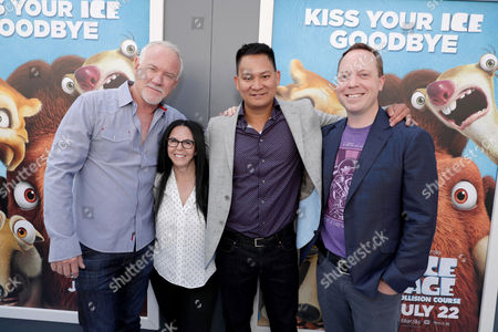 """Composer John Debney, Producer Lori Forte and Directors Galen T. Chu and Mike Thurmeier seen at Twentieth Century Fox """"Ice Age: Collision Course"""" Friends and Family Screening at Zanuck Theater, in Los Angeles"""