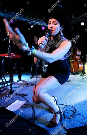 Stock Image of Vanessa Bley of Twin Danger is seen on the Universal Music Group stage at the SXSW 2015 Experience, in Austin, Texas