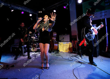 Vanessa Bley of Twin Danger is seen on the Universal Music Group stage at the SXSW 2015 Experience, in Austin, Texas