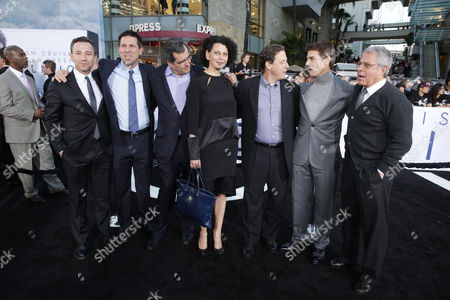 """Universal Pictures president of marketing Josh Goldstine, Producer Dylan Clark, Producer Peter Chernin, Universal Pictures Co-Chairman Donna Langley, Universal Pictures Chairman Adam Fogelson, Tom Cruise and Universal Studios President and COO Ron Meyer at Universal Pictures Presents the American Premiere of """"Oblivion"""" held at the TCL Chinese Theater on in Los Angeles"""