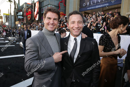 """Tom Cruise and Universal's President of Marketing Josh Goldstine at Universal Pictures Presents the American Premiere of """"Oblivion"""" held at the TCL Chinese Theater on in Los Angeles"""