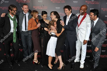 """From left, Johann Urb, Kevin Durand, Sienna Guillory, Li Bingbing, Aryana Engineer, Milla Jovovich, Paul W.S. Anderson, Boris Kodjoe and Oder Fehr attend the US premiere of """"Resident Evil: Retribution"""" at Regal Cinemas L.A. Live on in Los Angeles"""