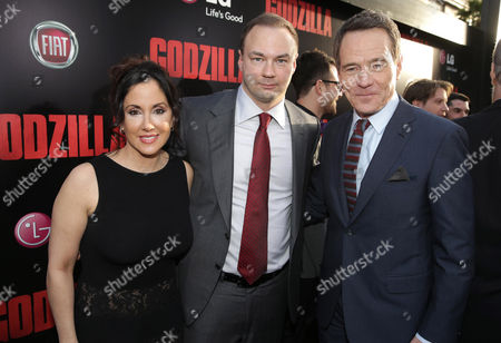 Alba Tull, Legendary Picture's Thomas Tull and Bryan Cranston seen at Warner Bros. Pictures and Legendary Pictures Present the Los Angeles Premiere of 'Godzilla' at Dolby Theatre, in Hollywood