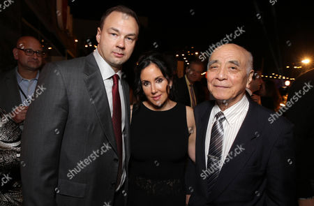 EXCLUSIVE -Legendary Picture's Thomas Tull, Alba Tull and Yoshimitsu Banno of Toho co. seen at Warner Bros. Pictures and Legendary Pictures Present the Los Angeles Premiere of 'Godzilla' at Dolby Theatre, in Hollywood