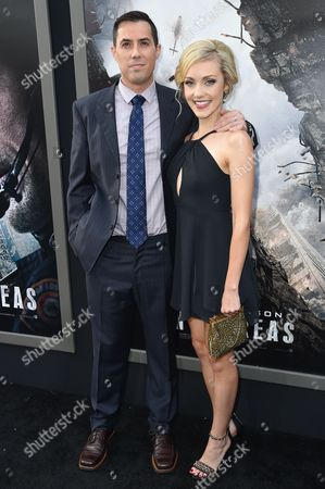 """Stock Image of Brad Peyton, left and Breanne Hill arrive at the World Premiere Of """"San Andreas"""" held at the TCL Chinese Theater, in Los Angeles"""