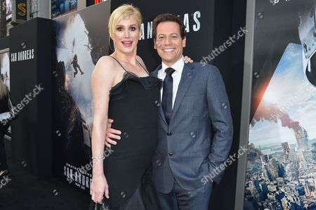 """Alice Evans, left, and Ioan Gruffud arrive at the World Premiere Of """"San Andreas"""" held at the TCL Chinese Theater, in Los Angeles"""