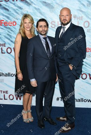 "Producer Lynn Harris, left, director Jaume Collet-Serra and producer Matti Leshem attend the world premiere of ""The Shallows"" at AMC Loews Lincoln Square, in New York"