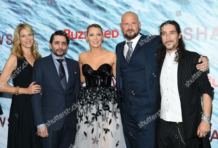 "Producer Lynn Harris, left, director Jaume Collet-Serra, actress Blake Lively, producer Matti Leshem and actor Oscar Jaenada attend the world premiere of ""The Shallows"" at AMC Loews Lincoln Square, in New York"