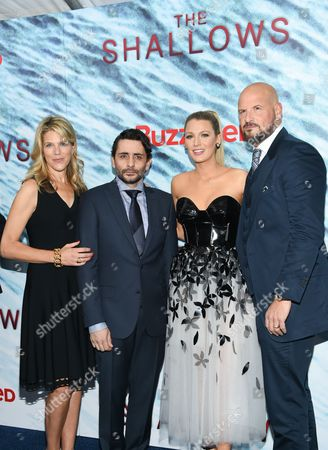 "Producer Lynn Harris, left, director Jaume Collet-Serra, actress Blake Lively and producer Matti Leshem attend the world premiere of ""The Shallows"" at AMC Loews Lincoln Square, in New York"