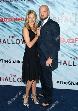 "Producers Lynn Harris, left, and Matti Leshem attend the world premiere of ""The Shallows"" at AMC Loews Lincoln Square, in New York"