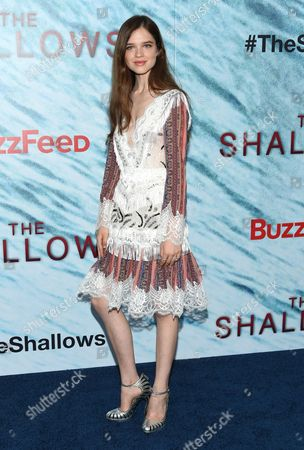 """Sedona Legge attends the world premiere of """"The Shallows"""" at the AMC Loews Lincoln Square, in New York"""