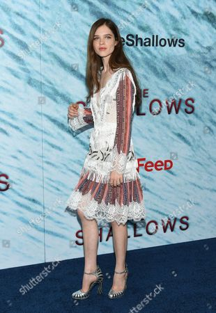 """Stock Image of Actress Sedona Legge attends the world premiere of """"The Shallows"""" at AMC Loews Lincoln Square, in New York"""