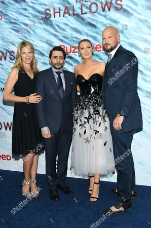 "Producer Lynn Harris, from left, director Jaume Collet-Serra, Blake Lively and producer Matti Leshem attend the world premiere of ""The Shallows"" at the AMC Loews Lincoln Square, in New York"