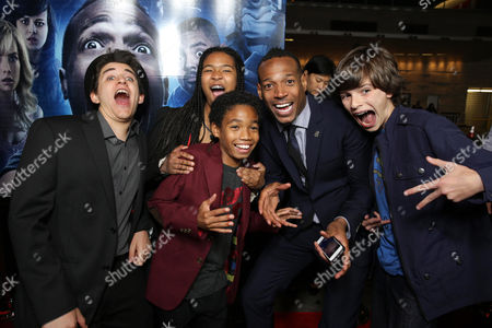 Guest, Amai Zackary Wayans, Shawn Howell Wayans, Writer/Producer Marlon Wayans and guest seen at the Los Angeles World Premiere of Open Road Films 'A Haunted House 2,' on in Los Angeles