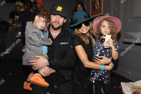 From left, Sparrow Madden, Joel Madden, Nicole Richie, and Harlow Madden attend Yo Gabba Gabba! Live!: Get The Sillies Out! 50+ city tour kick-off performance on Thanksgiving weekend at Nokia Theatre L.A. Live on in Los Angeles