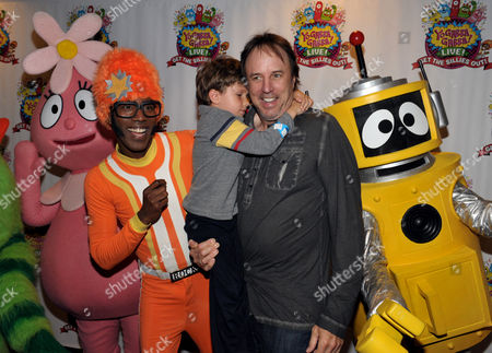 From left, DJ Lance Rock, Gable Nealon and Kevin Nealon attend Yo Gabba Gabba! Live!: Get The Sillies Out! 50+ city tour kick-off performance on Thanksgiving weekend at Nokia Theatre L.A. Live on in Los Angeles
