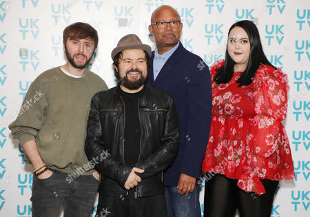 Stock Image of James Buckley, Louis Emerick, Kenneth Collard and Sharon Rooney