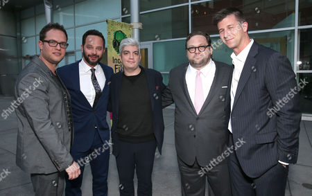 """Producer Sam Slater, Nick Kroll, Producer Jared Goldman, Director Ross Katz and Producer Paul Bernon attend the """"Adult Beginners"""" LA Premiere, In Partnership with Wood & Vine at Arclight Cinemas on in Los Angeles"""