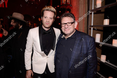 """Mayer Hawthorne and Lucian Grainge, Chairman and CEO of UMG, seen at the after party for the """"AMY"""" U.S. Premiere hosted by Lucian Grainge CBE, Universal Music Group and A24 at The Hollywood Roosevelt, in Hollywood, CA"""