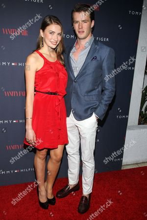 Elsa Cocquerel, left, and Thomas Cocquerel attend the Zooey Deschanel for Tommy Hilfiger Collection launch event at The London Hotel on in West Hollywood, California