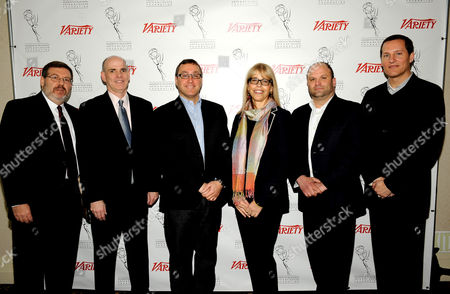 HOLLYWOOD, CA - MARCH 20: (L-R) TV Columnist, Variety Brian Lowry, President & CEO, Crown Media Family Networks (Hallmark Channel, Hallmark Movie Channel), Bill Abbott, EVP Marketing, Comedy Central Walter Levitt, President, Animal Planet & Science Chanel Marjorie Kaplan, SVP, Media & Technology, Ipsos MediaCT Ben Spergel and President of Marketing and Communications, Fox Broadcasting Company Joe Earley pose in the green room at the 2012 TV Summit Presented by Variety and the Academy of Television Arts & Sciences Foundation at the Renaissance Hollywood Hotel on in Hollywood, California