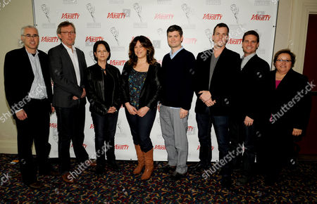 HOLLYWOOD, CA - MARCH 20: (L-R) Assistiant Managing Editor, Features, Variety Stuart Levine, Executive Producer, Homeland Alex Gansa, Executive Producer, Dallas Cynthia Cidre, Executive Producer Suburgatory Emily Kapnek, Executive Producer, Parks and Recreation Mike Schur, Executive Prpducer Person of Interest Jonah Nolan, Executive Producer, Person of Interest Greg Plageman and Academy of Television Arts & Sciences Foundation Executive Director Norma Provencio Pichardo pose in the green room at the 2012 TV Summit Presented by Variety and the Academy of Television Arts & Sciences Foundation at the Renaissance Hollywood Hotel on in Hollywood, California