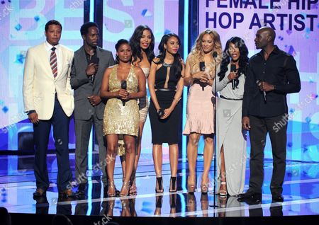 From left, Terrence Howard, Harold Perrineau, Nia Long, Sanaa Lathan, Regina Hall, Melissa De Sousa, Monica Calhoun and Morris Chestnut speak onstage at the BET Awards at the Nokia Theatre, in Los Angeles